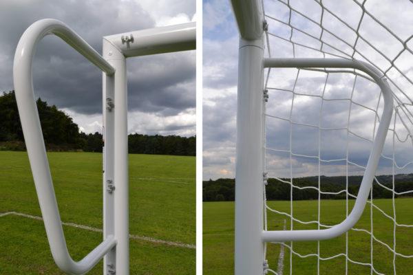 goalfix socketed mini soccer 9v9 goal corner detail