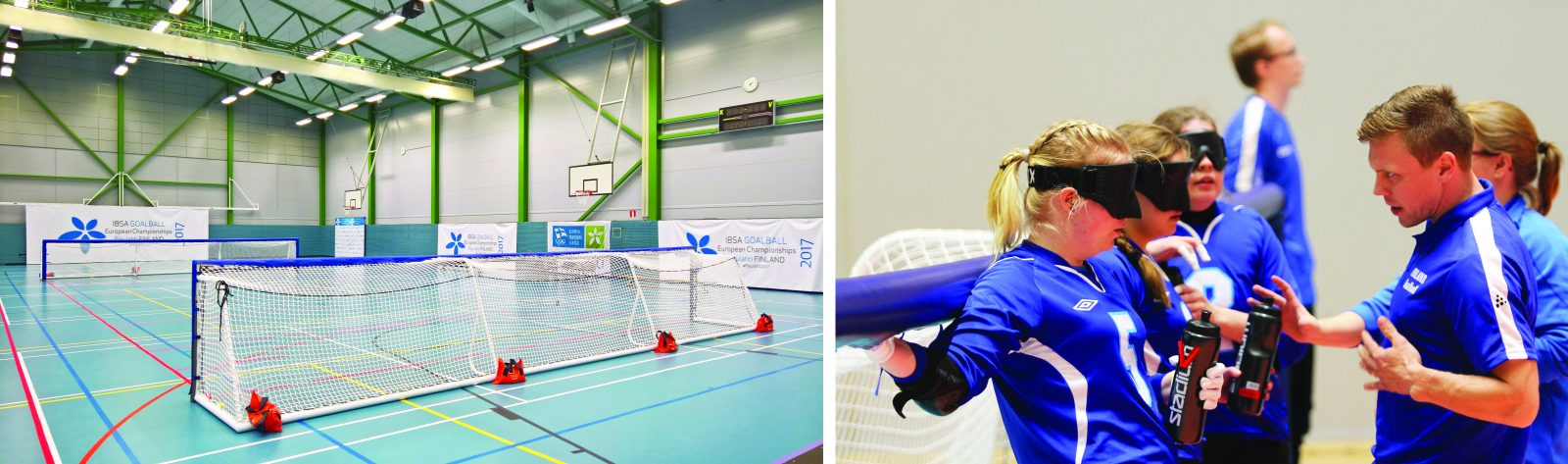 Goalfix international competition goalball goals at IBSA Goalball European Championships Pajulahti Finland